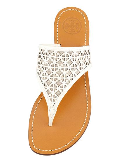 Amara Laser-Cut Patent Thong Sandal, Ivory/Natural