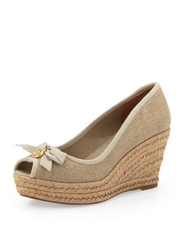 "Tory Burch Jackie Peep-Toe Wedge with 3"" Heel"