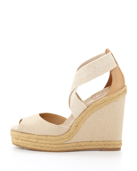 Kate Linen Espadrille Wedge, Natural Gold
