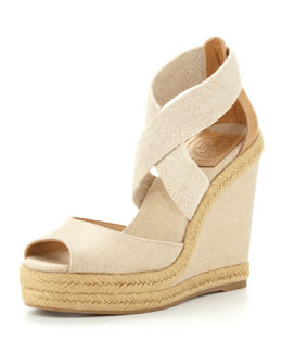 Tory Burch Kate Linen Espadrille Wedge, Natural Gold