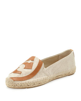 Tory Burch Lonnie Flat Logo Espadrille, Natural Tan