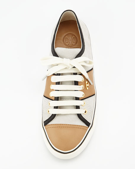 Churchill Striped Suede Sneaker, Ivory/Honey/Black