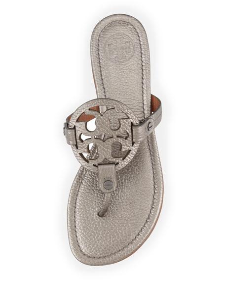 49a3b2d88352c6 ... where to buy tory burch miller metallic logo thong sandal pewter neiman  marcus c96b2 3e104