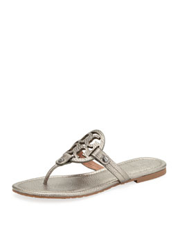 Tory Burch Miller Metallic Logo Thong Sandal, Pewter