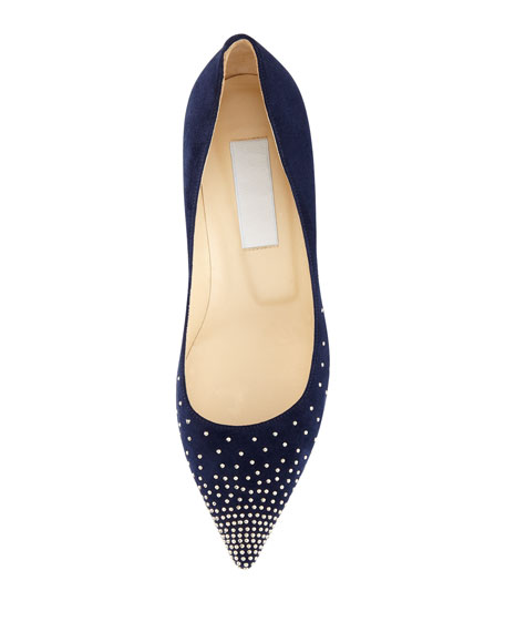 Agnes Studded Suede Pump, Navy/Silver