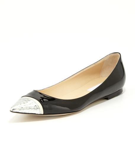 Alfonso Patent Snake-Toe Flat