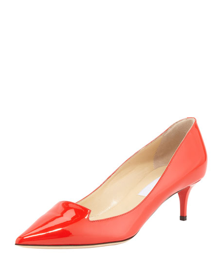Allure Point-Toe Patent Pump, Orange