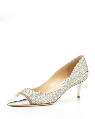 Jimmy Choo Anejo Low-Heel Glitter Pump, Champagne/Silver