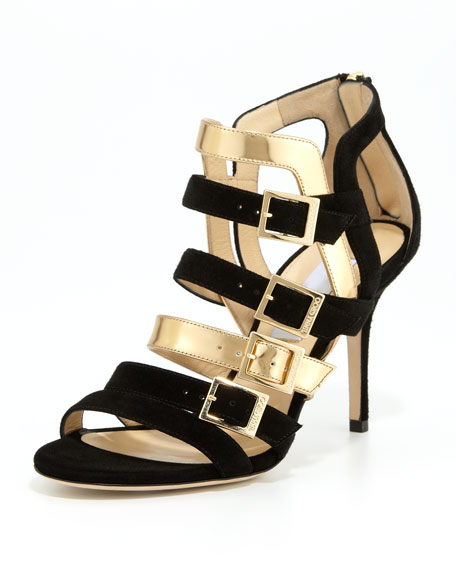 Bubble Strappy Suede/Metallic Sandal, Black/Gold