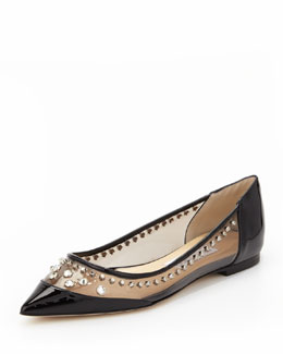Jimmy Choo Cubata Studded Point-Toe Flat, Black