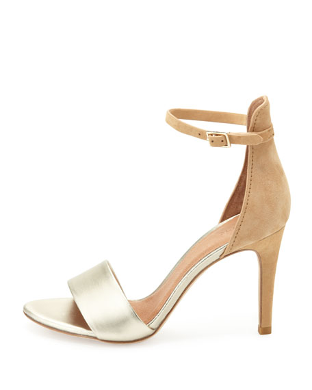 Jaclyn Two-Tone Ankle-Wrap Sandal, Nude/Platinum