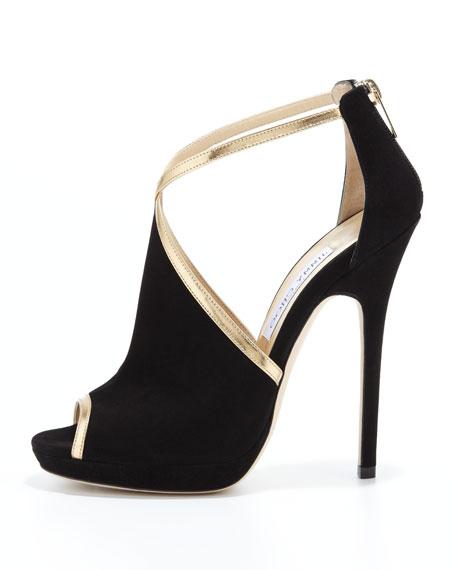 Fey Peep-Toe Suede Sandal, Black/Gold