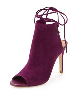 Joie Lexington Suede Ankle-Tie Bootie, Plum