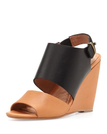 Ashland Two-Tone Wedge Sandal, Black/Natural