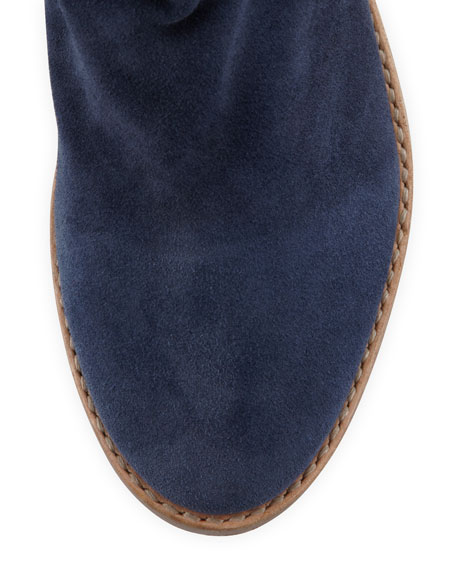 Pinyon Suede Pull-On Bootie, Denim