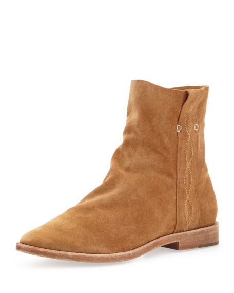 Pinyon Suede Pull-On Bootie, Cognac