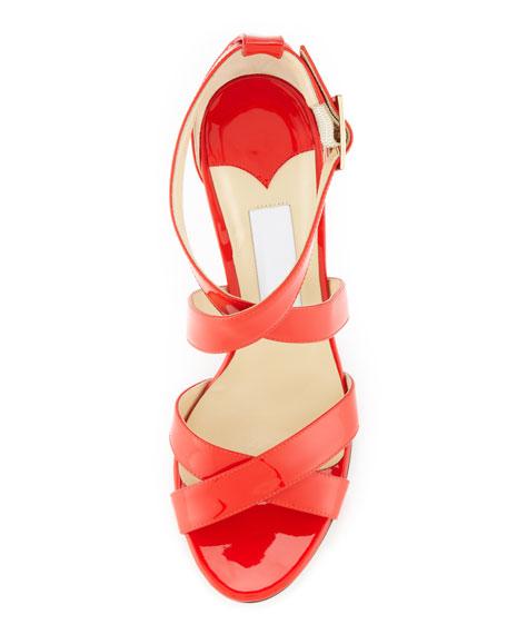 Lottie Patent Crisscross Sandal
