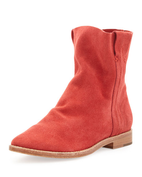 Pinyon Suede Pull-On Bootie, Cerise