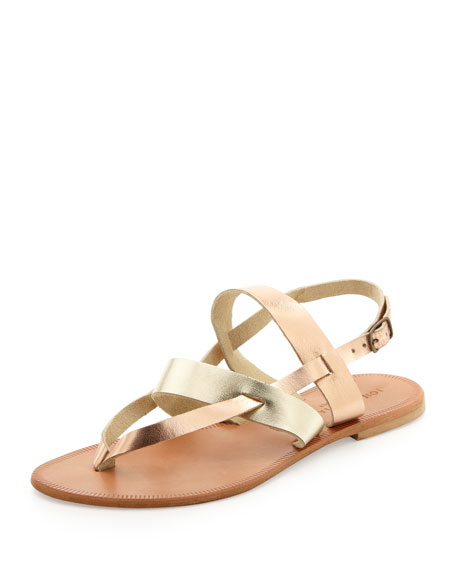 Positano Metallic Flat Sandal, Platinum/Rose Gold