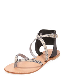 Joie Casis Leopard-Print Leather Sandal