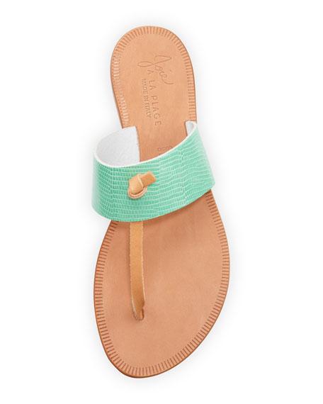 Nice T-Strap Thong Flat Sandal, Teal