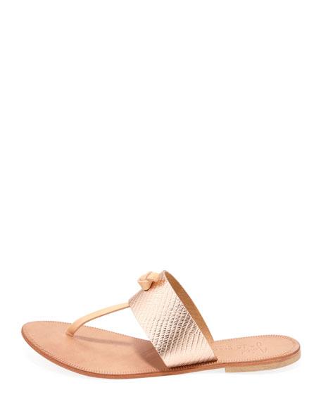 Nice T-Strap Thong Flat Sandal, Rose Gold