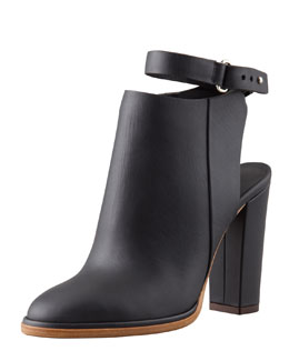 Vince Joanna Ankle-Strap Leather Bootie, Black