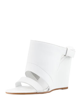 Vince Kasia Leather Wedge Slide Sandal, White