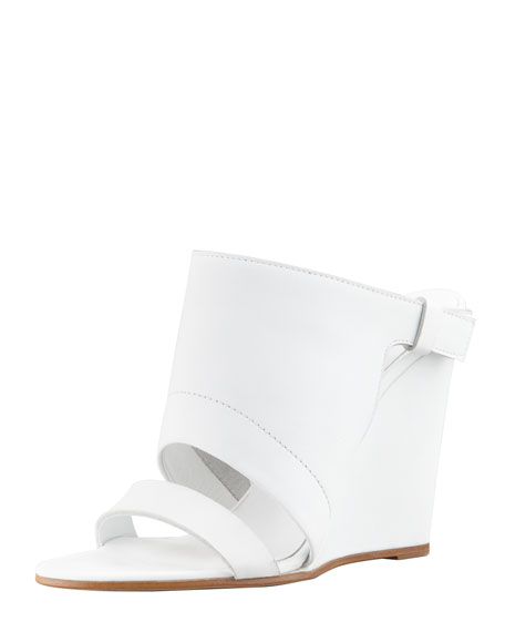 Kasia Leather Wedge Slide Sandal, White