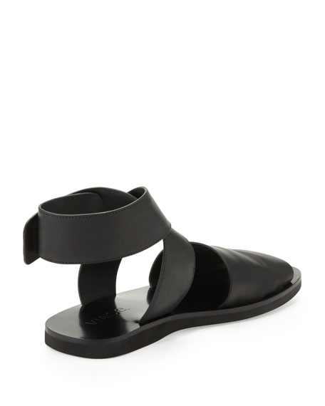 Sabine Leather Ankle-Wrap Sandal, Black
