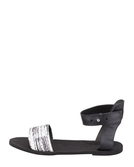 Sawyer Striped-Snake Ankle-Wrap Sandal