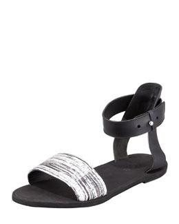 Vince Sawyer Striped-Snake Ankle-Wrap Sandal