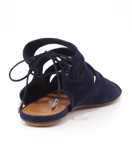 Sloane Suede Flat Sandal, Navy