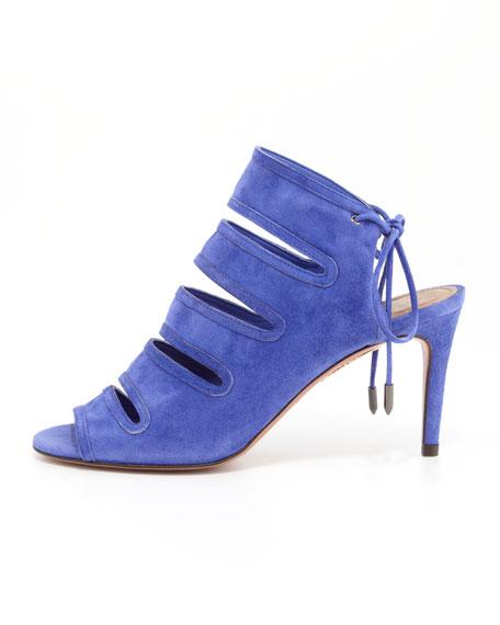 Sloane Slit-Front Mid-Heel Sandal, Violet