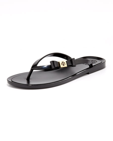 Michaela Bow Jelly Thong Sandal, Black