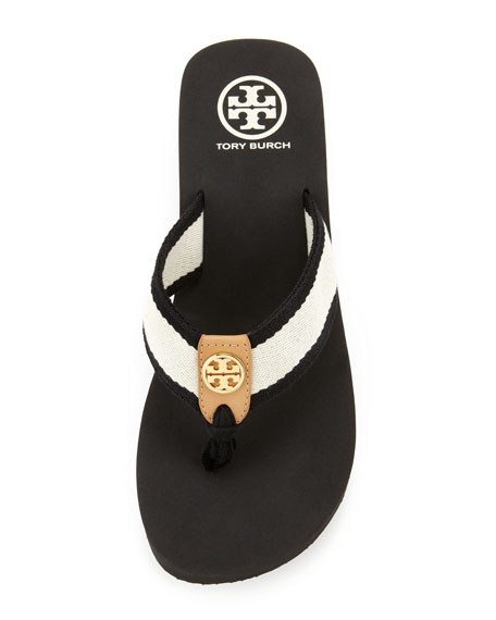Ray Rubber Flip-Flop, Black/Ivory/Honey