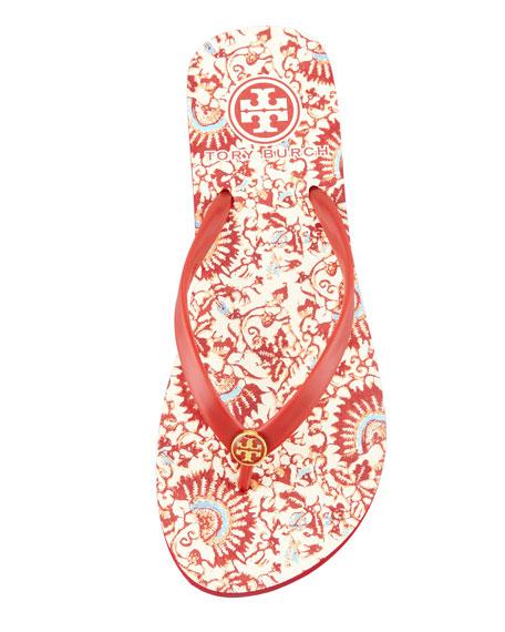 Floral-Print Rubber Flip Flop, Rouge