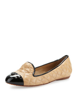 Tory Burch Kristy Quilted Smoking Slipper, Honey Wheat/Black