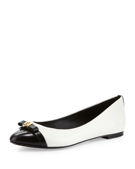Hugo Point-Toe Ballerina, Ivory/Black