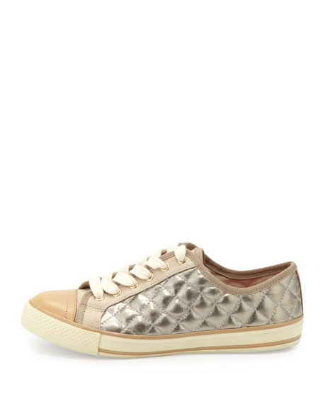 Caspe Quilted Leather Sneaker, Platinum