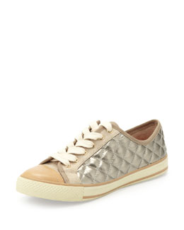 Tory Burch Caspe Quilted Leather Sneaker, Platinum