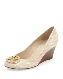 Tory Burch Sally Snake-Print Wedge Pump, Spring Dune