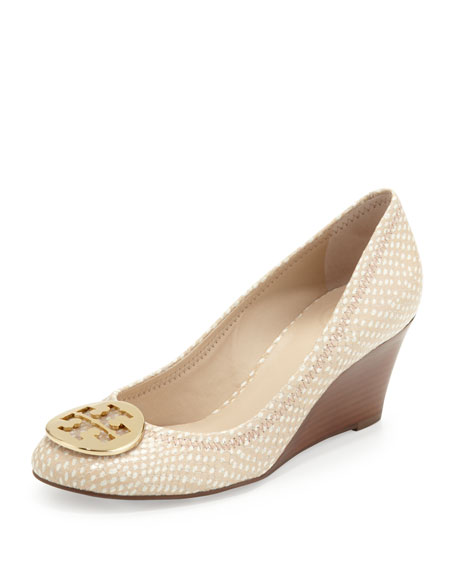 Sally Snake-Print Wedge Pump, Spring Dune