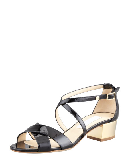 Merit Patent Leather Low-Heel Sandal, Black