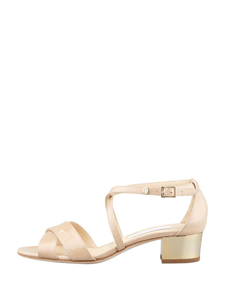 Merit Patent Leather Low-Heel Sandal, Nude