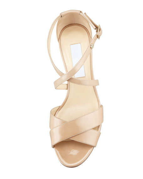 Jimmy Choo Merit Patent Leather Low-Heel Sandal, Nude