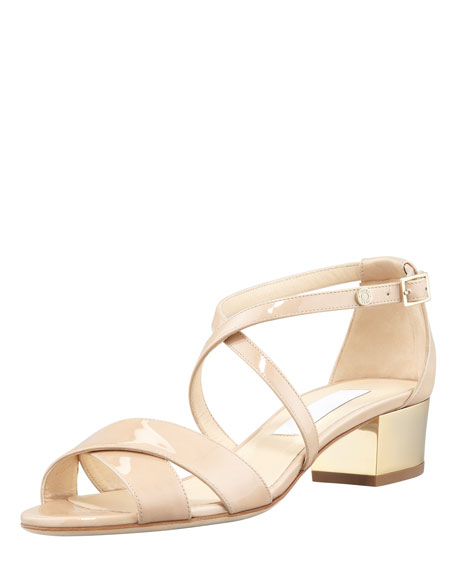 Jimmy Choo Merit Patent Leather Low-Heel Sandal Nude