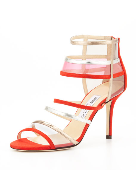 Mixer Strappy Cage Sandal, Orange