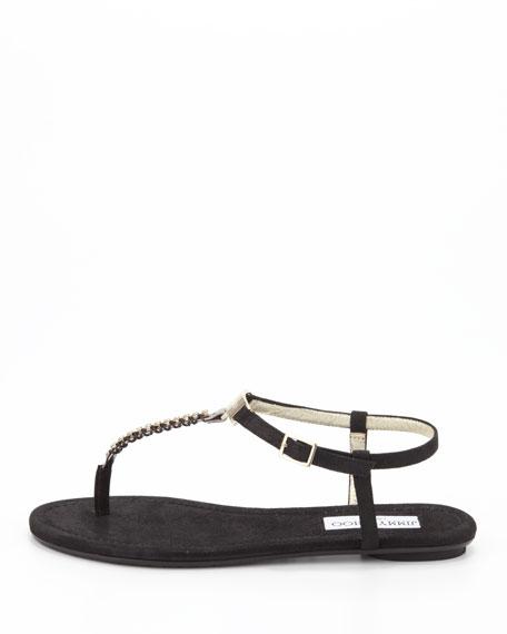 Nox Flat Crystal Thong Sandal, Black