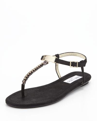 Jimmy Choo Nox Flat Crystal Thong Sandal, Black